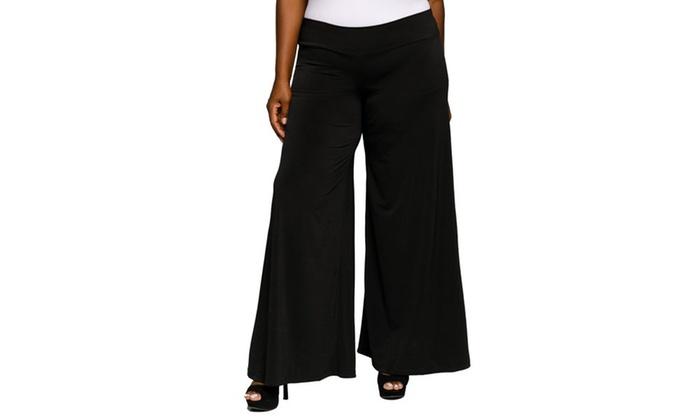 Xehar Womens Plus Size Wide Leg Stretch Palazzo Flare Dress Pants