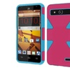 Insten Dynamic Hard Dual Silicone Case For Zte Speed Hot Pink Blue
