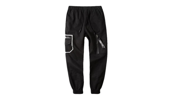 Men's Zip Up with Button Closure Straight Mid Rise Pants