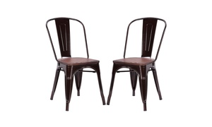 Set of 2 Tolix Style Dining Side Chair Stackable Bistro Metal