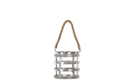 Metal Riveted Lantern with Rope Hanger Small Galvanized Finish Silver c11097ed-7204-40b6-bdc5-4d3ab9aa1329