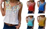 Women's V Neck Summer Tank Sleeveless Blouse Casual Shirts Tops Button