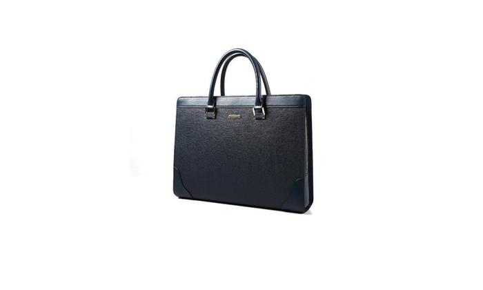 Men's Dual Top Handle Solid Briefcase