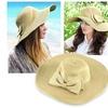 Zodaca Beige Ladies  Sun Bowknot Wide Brim Straw Cap Hat One Size
