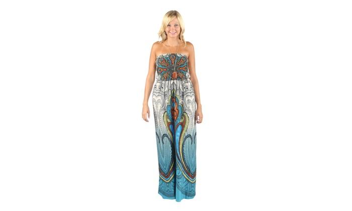 Hadari Womens Blue Streppless Maxi paisley print