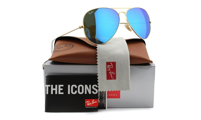 Ray-Ban Aviator Sunglasses Matte Gold /Blue Mirror