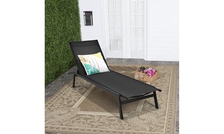 Costway Patio Lounge Chair Chaise Recliner Back Adjustable Garden Deck