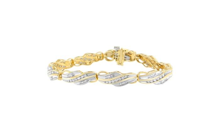 10k Yellow Gold 2 Cttw Round And Baguette Cut Diamond Bracelet I J