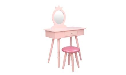 Wooden Kids Vanity Makeup Table and Stool Set, Pretend Beauty Makeup