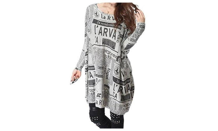 D2C Beauty Women Oversized Newspaper Print Knitted Pullover Sweaters
