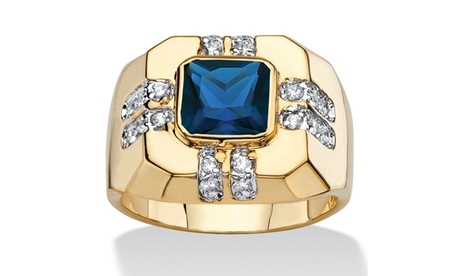 Men's .42 Cttw. Square 14k Gold-Plated Blue Spinel and White Cubic Zirconia Ring 2cb05797-0ac0-4a7a-a299-7dce671066e9