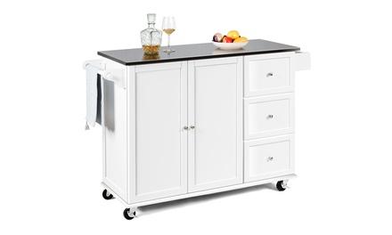 Costway Kitchen Island 2-Door Storage Cabinet Stainless Steel Top