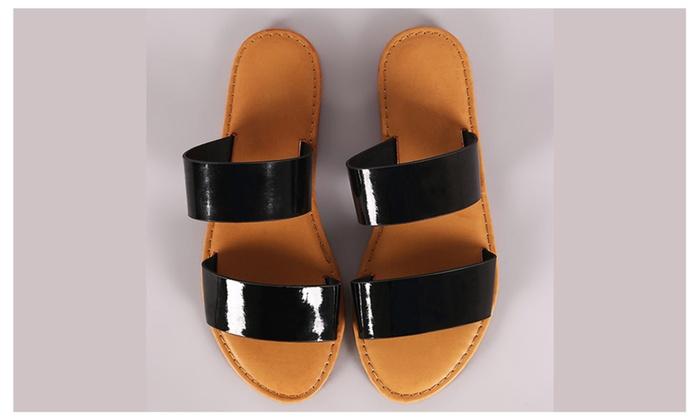5f1c7f9c9 ... Women s Comfortable Double Band Slide Flat Patent Sandals Coastline-64  ...