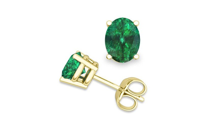 14k Yellow Gold 1 3 4ct T W Natural Emerald Stud Earrings
