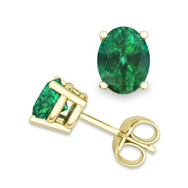 3239b074677ee 14k Yellow Gold 1 3/4ct T.W. Natural Emerald Stud Earrings