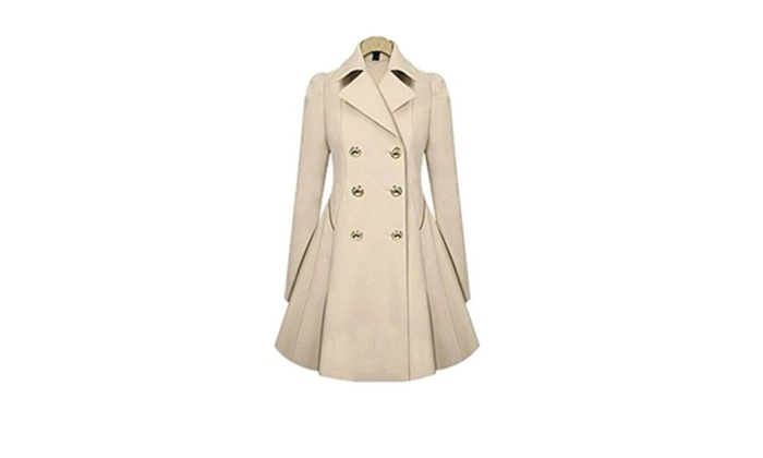Womens Solid Color Slim Lapel Double-breasted Coat with Pleate Hem