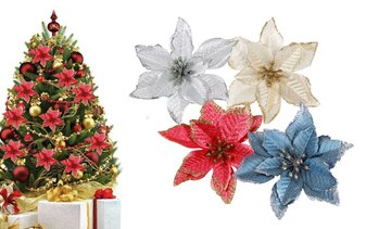 12pcs Glitter Poinsettia Christmas Tree Ornament Artificial Flowers
