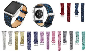 Bling Glitter Leather Wrist Strap Watch Band for Apple Watch 1 2 3 4