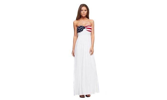 19ca2897 American Flag Patriotic Strapless White Stars & Stripes Maxi Dress U.S