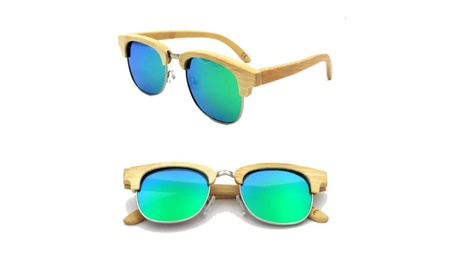Half-frame bamboo fashion metal nose bridge polarized glasses ed57471e-a443-459a-b997-f6e66c6af5a3