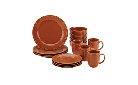 Rachael Ray Cucina 16-Piece Stoneware Dinnerware Set, Pumpkin Orange a2ec29d9-5cba-410a-a0c5-6639bcee5f9a