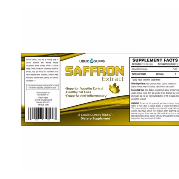 Liquid Supps Saffron Extract Supplement For Weight Loss 2oz