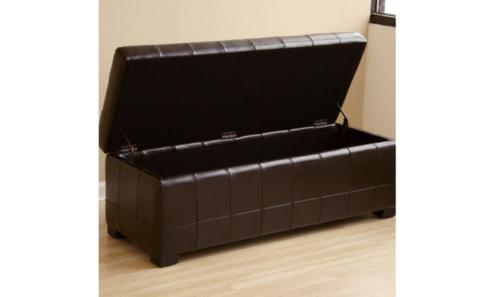 ... Dark Brown Full Leather Storage Bench Ottoman With Dimples
