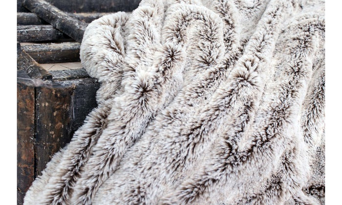 Gray Faux Fur Throw Blanket ...
