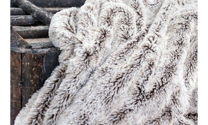 Gray Faux Fur Throw Blanket