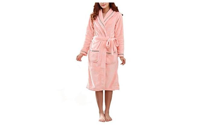 Women's Shawl Collar Plush Kimono Fleece Long Robe Bathrobe