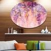Pink and Violet Flowers Watercolor' Disc Large Floral Metal Artwork