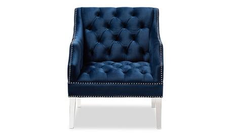 Silvana Navy Velvet Fabric Upholstered Lounge Chair with Acrylic Legs