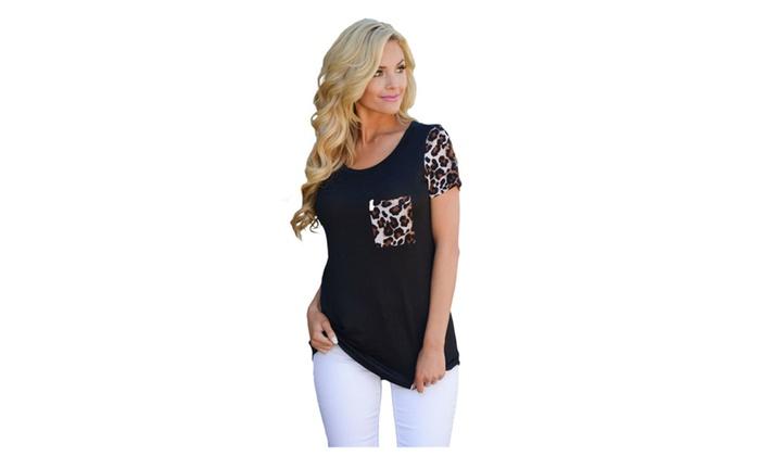 Women's Black Leopard Print Spliced T-shirt