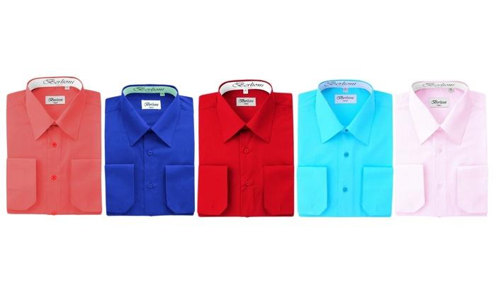 bde2e9dd969c Berlioni Men's French Convertible Cuff Long Sleeve Solid Dress Shirt