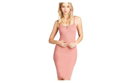 Ladies Fashion Rib Cami Midi Dress Front Zipper Detail Poly Spandex 961b6c43-1927-4739-8cb2-b54a08af7d8a