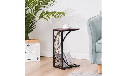Iron Side Table Coffee Table Tray End Table for Living Room, Brown