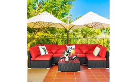 Costway 7PCS Patio Rattan Sofa Set Sectional Conversation Furniture Set Garden