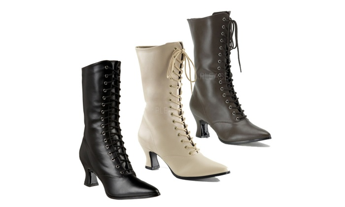 Beston VICTORIAN-120 Women Middle Heel Pioneer Lace Up Mid-Calf Boot