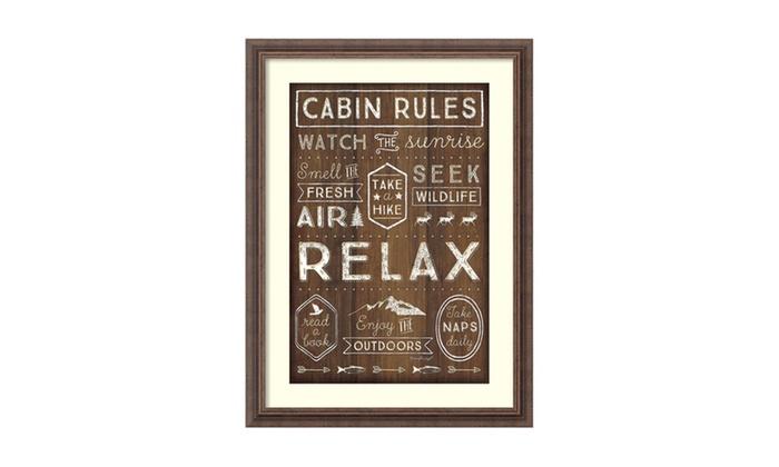 "Groupon Goods: Framed Art Print 'Cabin Rules' by Jennifer Pugh: Outer Size 23 x 31"""