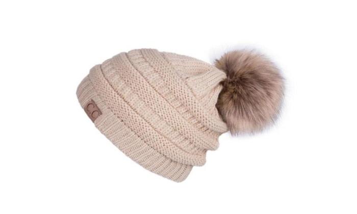 Women s Winter CC Beanie Soft Stretch Cable Knit Pom Pom Hat  66cefb0b3205