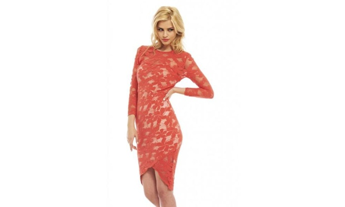 AX Paris Constrast Lace  Wrap Effect Dress