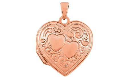 14K Rose Gold-Plated Sterling Silver Double Heart Locket 066ea5ca-b811-4cd9-b976-38d94b7dc108