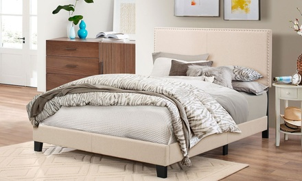 Ramon Queen Size Fabric Platform Bed with Nailhead Trim