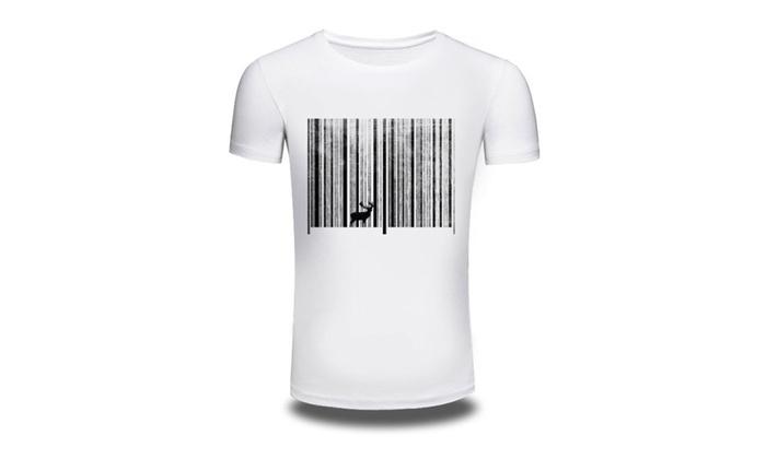 Cotton Men Printed Barcode Deer Graphic Tee T-Shirt