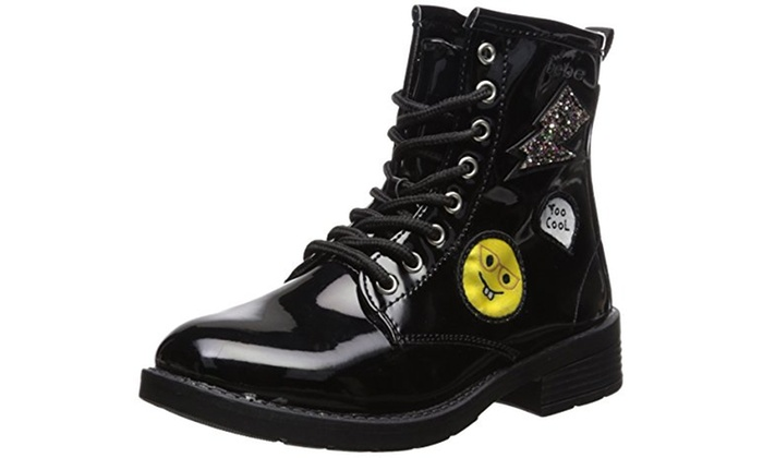 cb6d73e61 bebe Girls Patent Combat Boots with Patches | Groupon