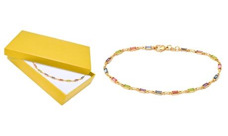 Emerald-Cut Crystal Anklet in 18K Gold