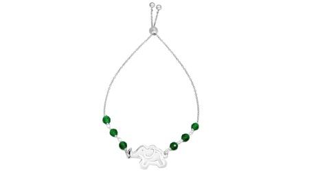 Italian Sterling Silver Adjustable Elephant Crystal Bracelet