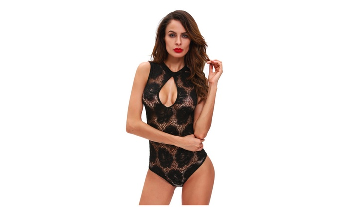 Women's Lingerie Floral Lace Sleeveless Bodysuit
