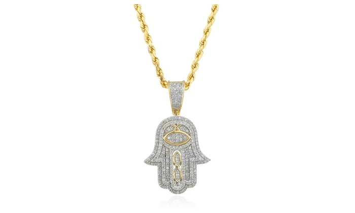 10k gold 36 carat diamond hamsa pendant 10k 24 rope chain aloadofball Choice Image