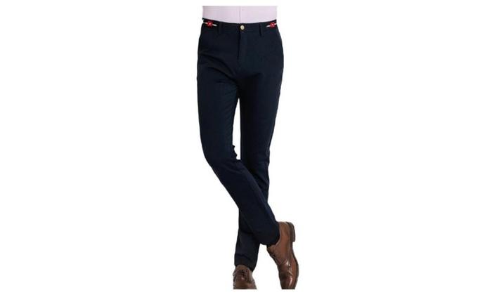 Men's Solid Mid Rise Long ZipUpwithButtonClosure Pants